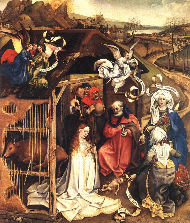 1420 Robert_Campin_The_Dijon Nativity