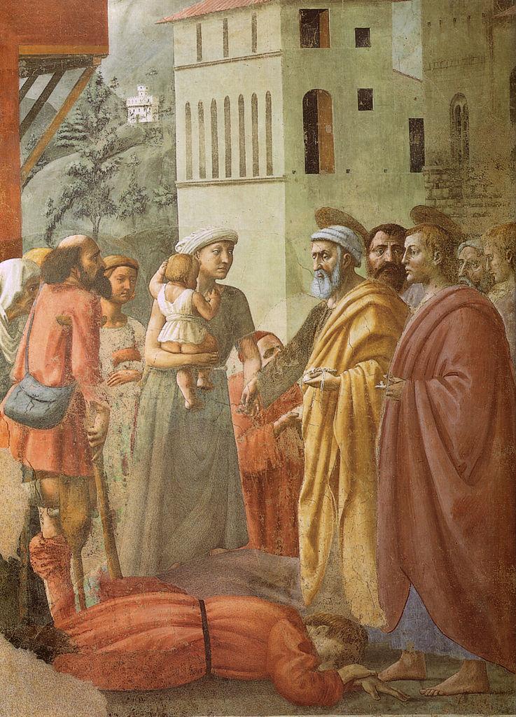 1426 Masaccio Cappella_brancacci,_Distribuzione_delle_elemosine_e_la_morte_di_Anania_(restaurato),_Masaccio