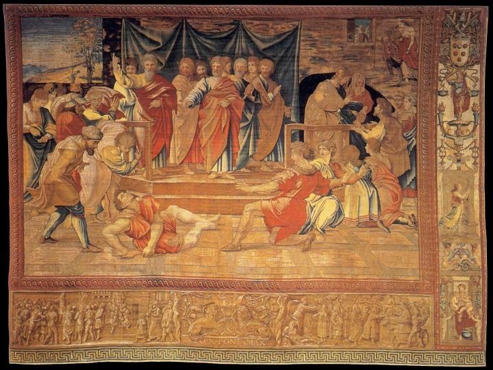 1515 - Raphael Vatican Arazzi_di_raffaello,_morte_di_anania