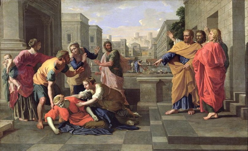 1652 Poussin death of sapphira