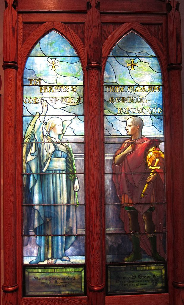 619px-'Saint_Cornelius_and_Angel',_stained_glass_lancet_windows_by_Tiffany_Studios,_c._1910