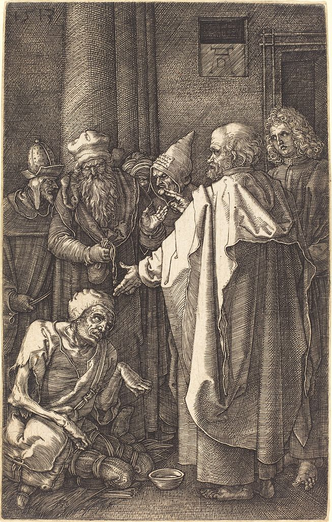 653px-Albrecht_Dürer_-_Saint_Peter_and_Saint_John_Healing_a_Cripple_at_the_Gate_of_the_Temple