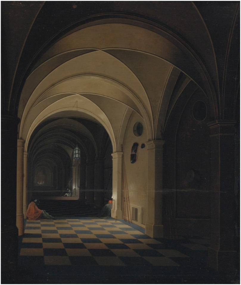 Pieter_Neefs_the_Younger_-_Interior_of_a_prison_with_sleeping_guards,_St_Peter_beyond