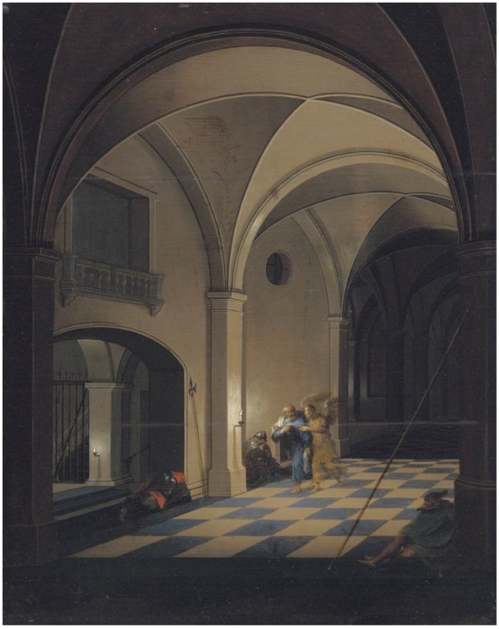 Pieter_Neefs_the_Younger_-_Interior_of_a_prison_with_St_Peter_fleeing_with_the_angel