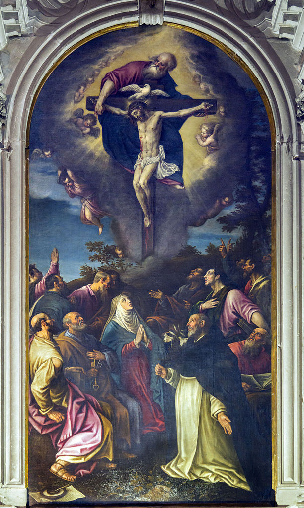 Trinity_Chapel_Santi_Giovanni_e_Paolo_(Venice)_-_Painting_of_the_altarpiece,_The_Trinity_by_Leandro_da_Bassano